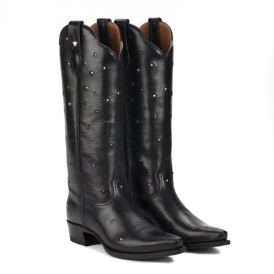 Womens Presidio Black - Tall Shaft Cowboy Boots - Ranch Road Boots™ Front Side Pair