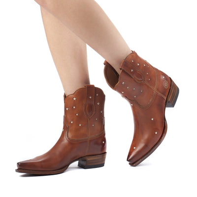 Womens Presidio Short Cognac - Western Bootie - Ranch Road Boots™ Pair