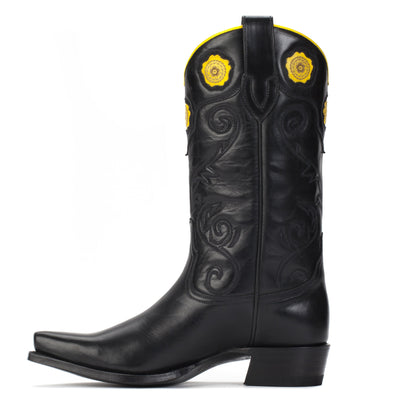 Womens Rosette Black - Handmade Cowgirl Boots - Ranch Road Boots™ Side Stitching Detail