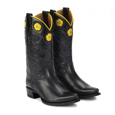 Womens Rosette Black - Handmade Cowgirl Boots - Ranch Road Boots™ Front Side Pair