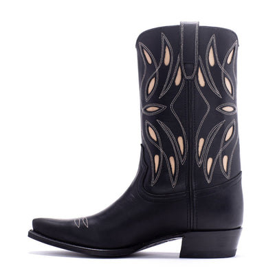Womens Sagebrush Black Leather Cowboy Boot - Ranch Road Boots™ Side