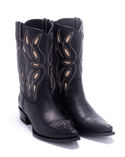 Womens Sagebrush Black Leather Cowboy Boot - Ranch Road Boots™ Front Pair