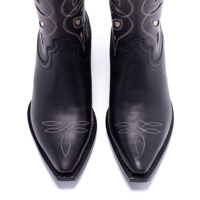 Womens Sagebrush Black Leather Cowboy Boot - Ranch Road Boots™ Toe Stitching