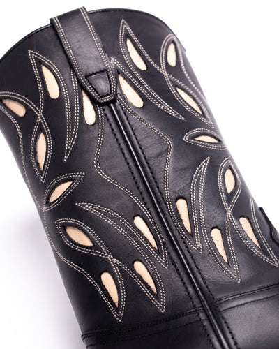 Womens Sagebrush Black Leather Cowboy Boot - Ranch Road Boots™ Shaft Stitching