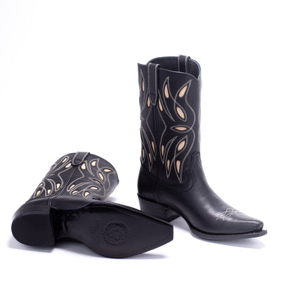 Womens Sagebrush Black Leather Cowboy Boot - Ranch Road Boots™ Bottom