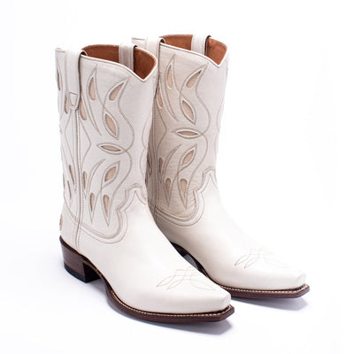 Womens Sagebrush White Leather Cowboy Boot - Ranch Road Boots™ Pair