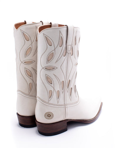 Womens Sagebrush White Leather Cowboy Boot - Ranch Road Boots™ Back Side Stitching