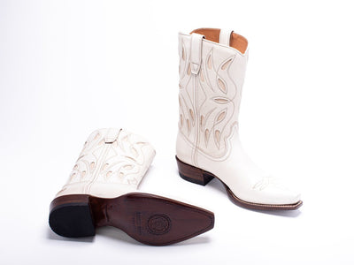 Womens Sagebrush White Leather Cowboy Boot - Ranch Road Boots™ Bottom Heel Side View