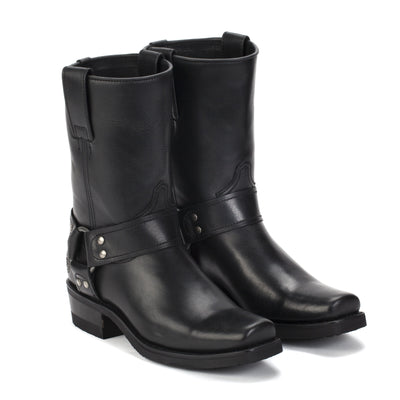 Womens Sarah Black - Leather Moto Boots - Ranch Road Boots™ Side Front Pair