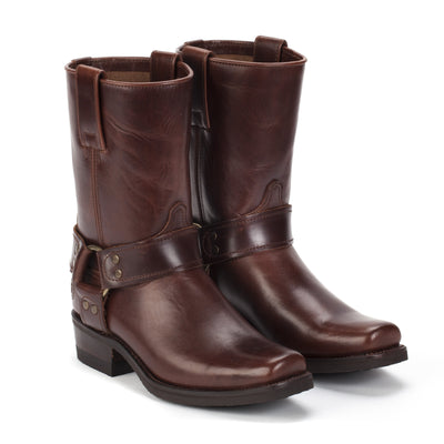 Womens Sarah Brown - Leather Moto Boots - Ranch Road Boots™ Pair