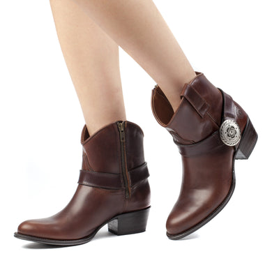 Womens Trinity Brown - Leather Western Ankle Boots - Ranch Road Boots™ Pair