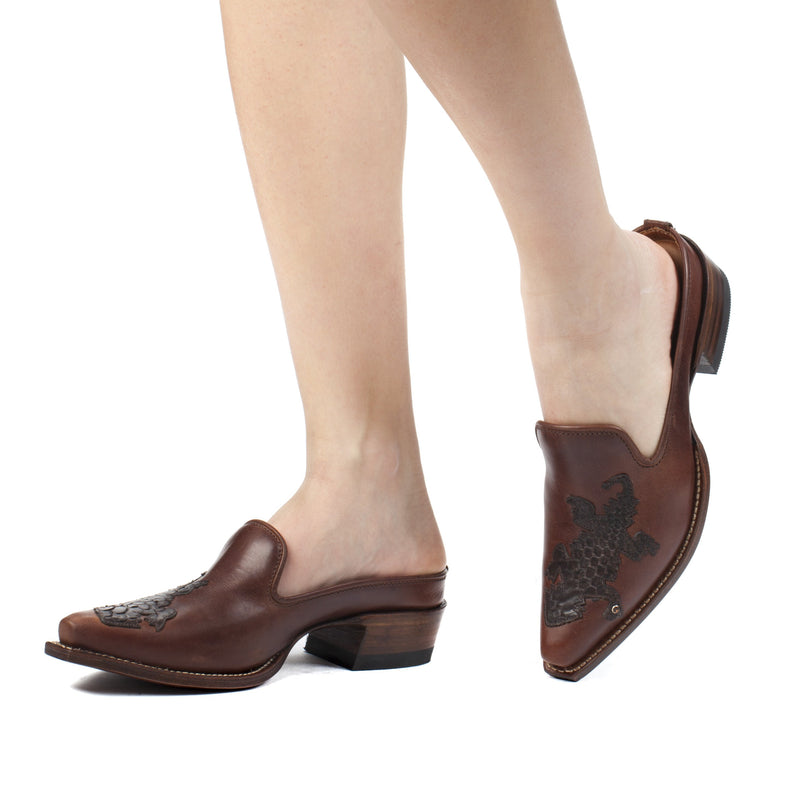 Womens Vanessa Brown Leather Mules - Ranch Road Boots™