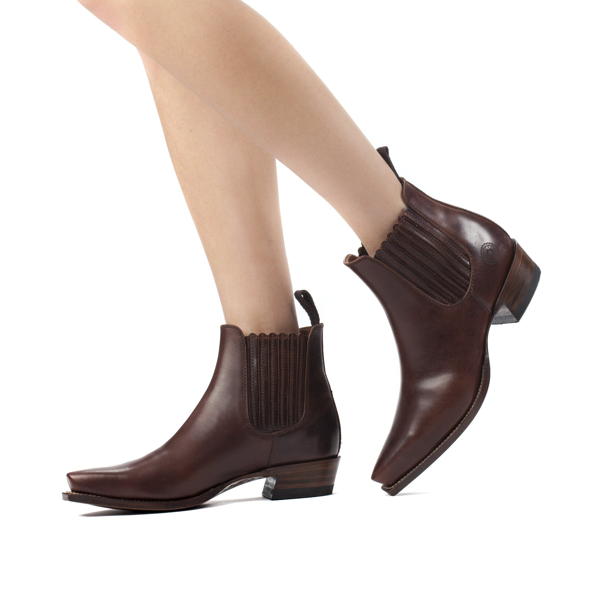 Womens Veronica Brown Chelsea Leather Boots by Ranch Road Boots™ - Side