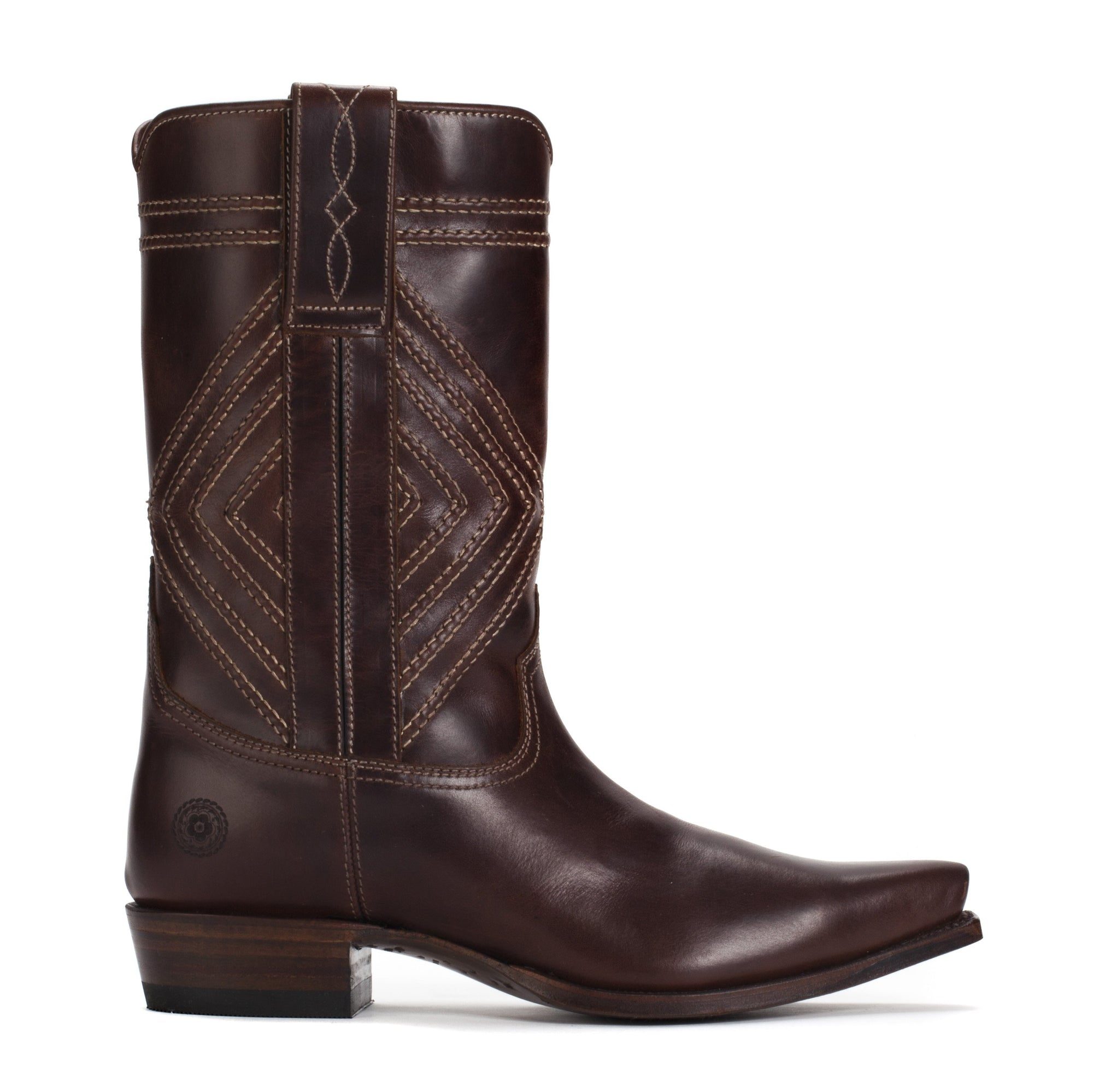 Mens Walker Brown - Cowboy Boots Geometric Stitch - Ranch Road Boots™-Outer Side View