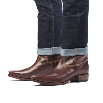 Mens Walker Brown - Cowboy Boots Geometric Stitch - Ranch Road Boots™-Side Pair View