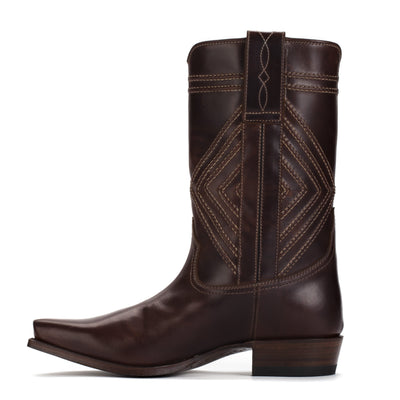 Mens Walker Brown - Cowboy Boots Geometric Stitch - Ranch Road Boots™-Inner Side View