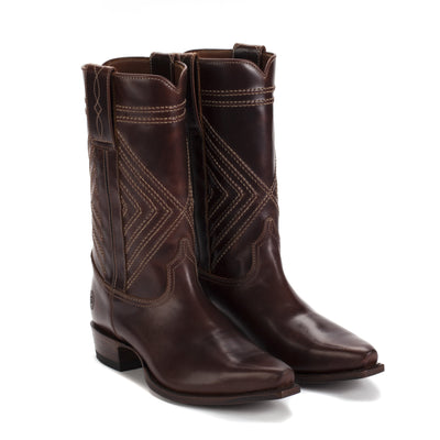 Mens Walker Brown - Cowboy Boots Geometric Stitch - Ranch Road Boots™-Front and Side Pair VIew