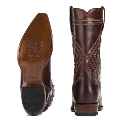 Mens Walker Brown - Cowboy Boots Geometric Stitch - Ranch Road Boots™-Back Heel and Bottom Sole Pair View