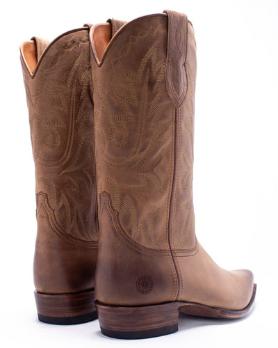 Mens Yoakum Tan Leather Western Boot - Ranch Road Boots™-Back-Side-Pair