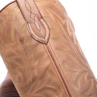 Mens Yoakum Tan Leather Western Boot - Ranch Road Boots™-Stitching Detail