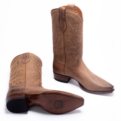 Mens Yoakum Tan Leather Western Boot - Ranch Road Boots™-Sole and Stitching Detail