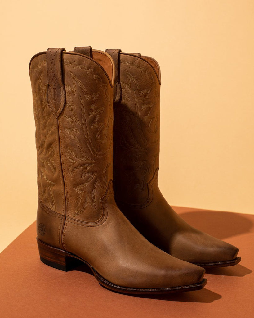 Fine full grain leather brown cowboy boots
