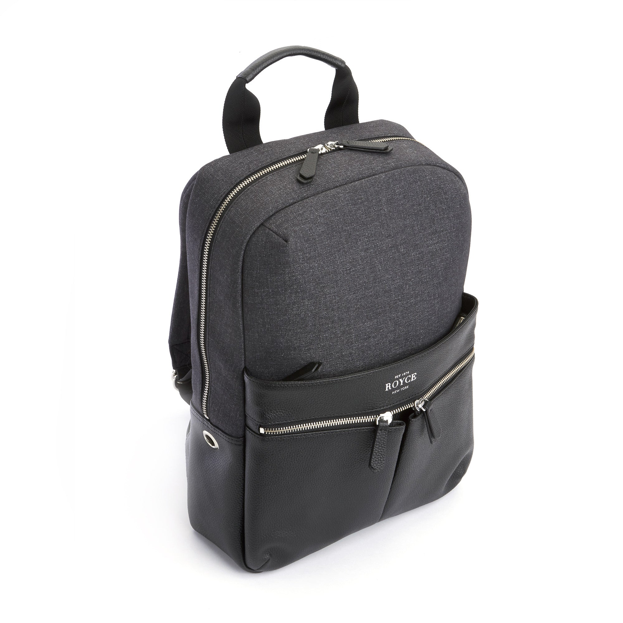Royce Leather Power Bank Charging Leather Laptop Backpack - Black