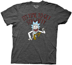 Rick and Morty It's Time to Get Schwifty Adult T-Shirt, Charcoal Heather