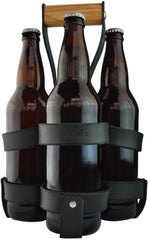 Walnut Studiolo Leather 4-Pack 22 oz Beer Bottle Carrier Holder Black