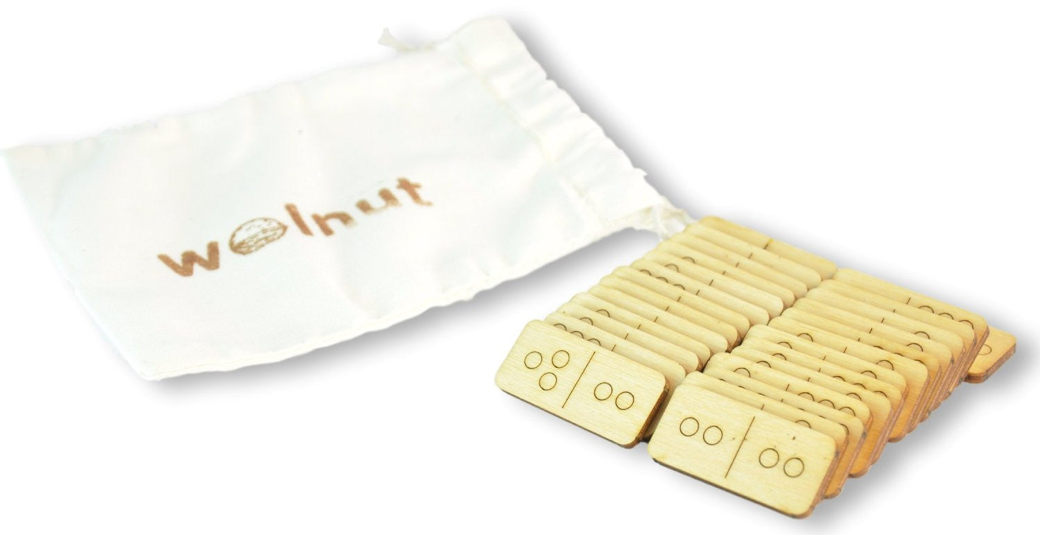 Travel Dominoes in a Muslin Bag by Walnut Studiolo