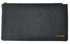 Sapphyr Saffiano Leather Bank Bag with Pen Sleeve