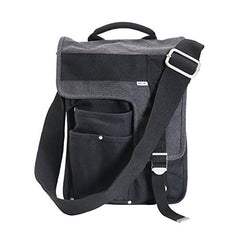 Front of Ducti black deployment messenger bag