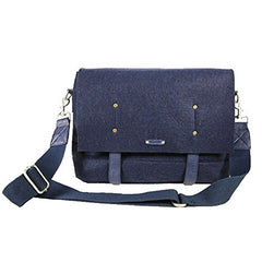Front of Ducti navy blue destroyer messenger bag