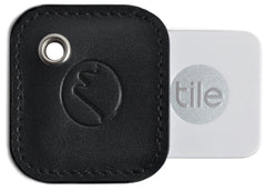 Tile Mate Cover with Keychain - Vegan Leather Key Fob Case for 2nd Gen Tile Tracker by Metier Life - Black