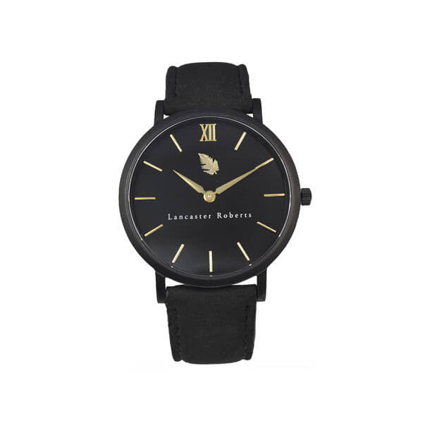 Lancaster Roberts Men's Black London First Edition Suede Band Wrist Watch