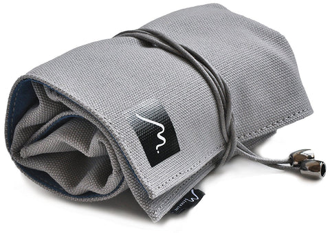 Watch Roll for Travel Storage  made w/ Soft Vegan Suede & Canvas by Metier Life - 2 Pocket, Grey