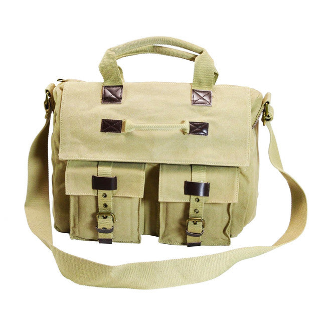 Front of Ducti tan presidio messenger bag