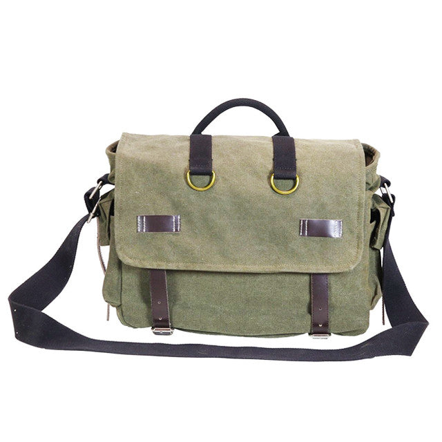 Front of Ducti Green Miramar messenger bag