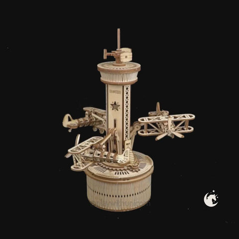 Airplane Control Tower Mechanical Music Box