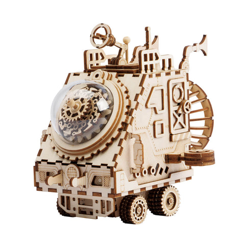 unicorntoys robotime rokr spaceship steampunk diy music box 3d wooden puzzle birthday gift kits for teens AM681