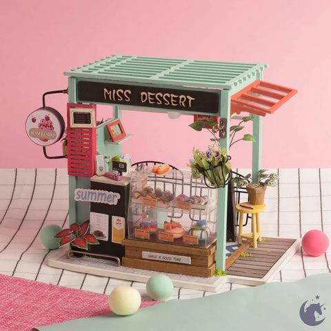 unicorntoys rolife robotime diy miniature dollhouse dgm06 Ice Cream Station diorama craft kit