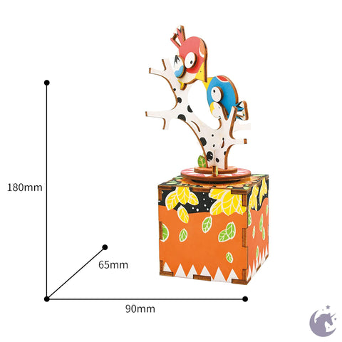 unicorntoys robotime rolife bird and tree diy music box 3d wooden puzzle birthday gift kits for teens AM301