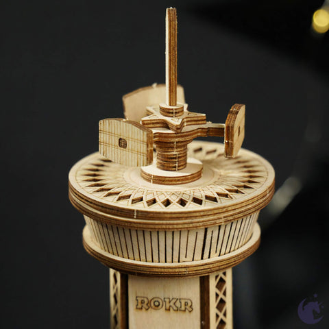 unicorntoys robotime rokr airplane control tower diy mechanical music box 3d wooden puzzle kit birthday gifts for teen AMK41