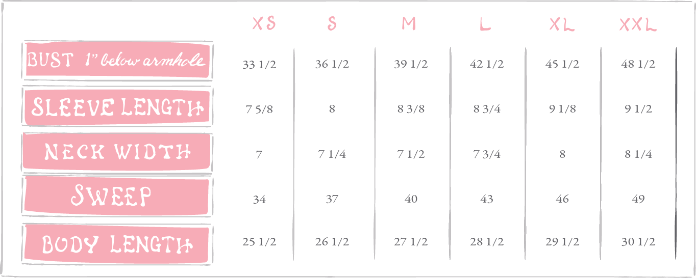 Lauren James Henley Sizing Chart