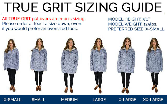 Sizing Chart for TRUE GRIT Frosty Tipped Pullovers