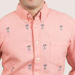 Chase Long Sleeve Shirt in Coral Linen with Embroidered Martinis by Castaway Clothing  - 1