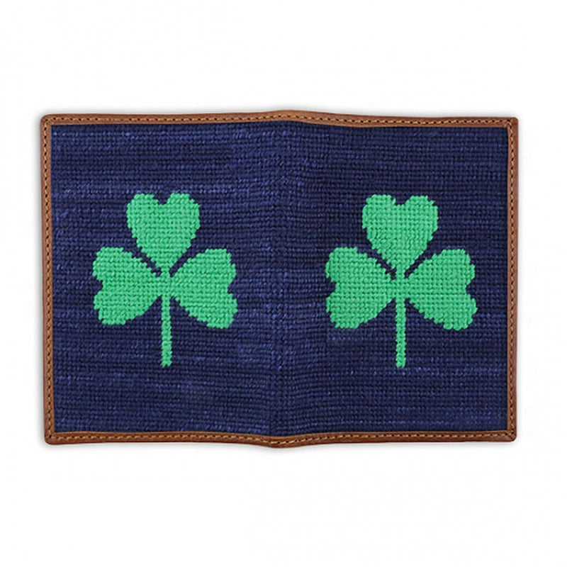 Shamrock Needlepoint Passport Case by Smathers & Branson