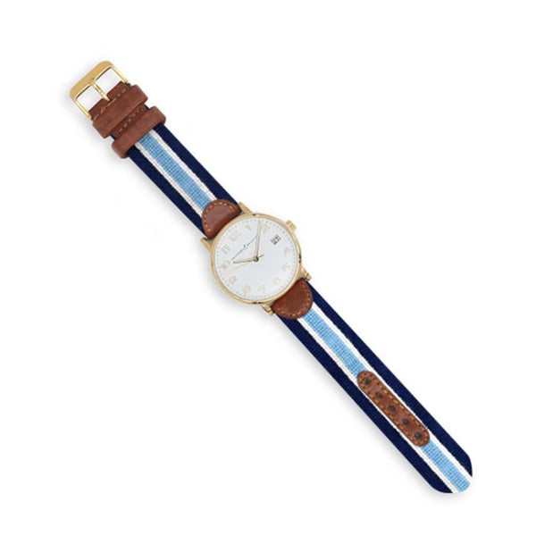 Smathers and Branson Light Blue Multi Stripe Needlepoint Watch by Smathers & Branson