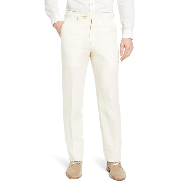 Rugby Plain-front Pant in White Linen by Country Club Prep