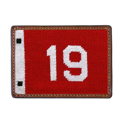 Smathers & Branson 19th Hole Pin Flag Needlepoint Credit Card Wallet